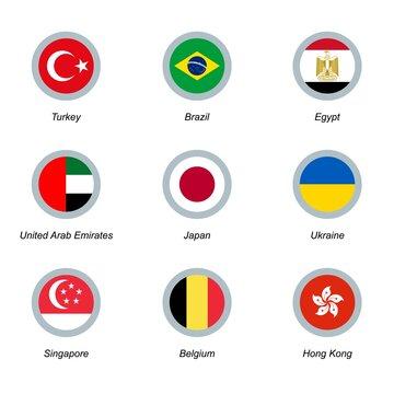 A set of nine round icons with flags. Turkey, Brazil, Egypt, United Arab Emirates, Japan, Ukraine, Singapore, Belgium and Hong Kong.
