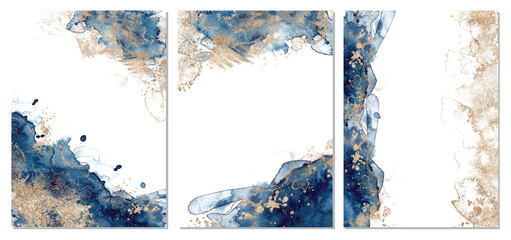 Classic blue and gold abstract backgrounds set. Templetes for cards and posterc.