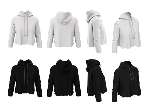 Women's sweatshirt. Front, back, side. Hooded cropped top with long sleeve, pullover, gumper. Template, mockup white and black colors. Sports uniform. 3D illustration isolated on a white background.