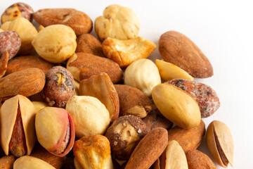 Mixed nuts. Edible, raw, organic and vegan.