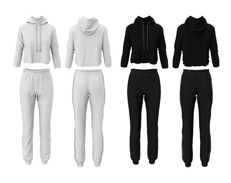 Tracksuit for women. Fashion sweatshirt and pants. Set of black and white colors. Realistic 3d illustration. Front and back view. Empty mockup, template for design and logo.