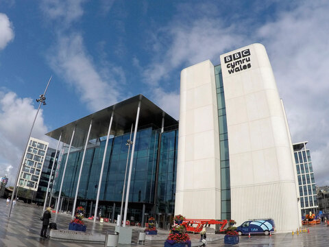 Cardiff, UK: August, 2019: BBC Cymru Wales is a division of the BBC and the national broadcaster for Wales based in Cardiff it produces a range of programmes for television. Illustrative Editorial