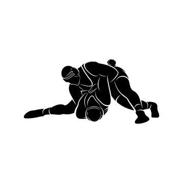 Wrestling logo vector template, Illustration symbol, Silhouette design