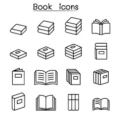 Book education icon set in thin line style vectorset collection of modern stylish symbols