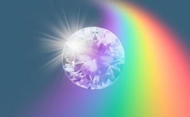 Wall Mural - A diamond dispersing colorful light