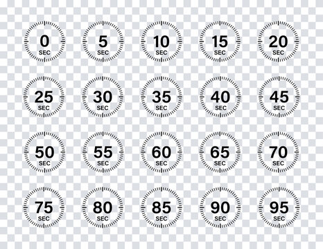 Timer chronometer countdown set. Vector isolated collection digital elements on transparent background. Stopwatch black vector set. Clock or watch isolated vector collection.