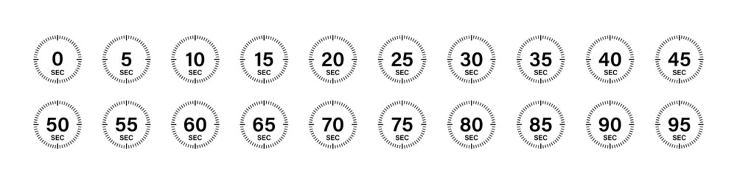 Timer chronometer countdown set. Vector isolated collection digital elements. Stopwatch black vector set. Clock or watch isolated vector collection.