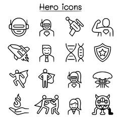 Hero icon set in thin line style vectorimage
