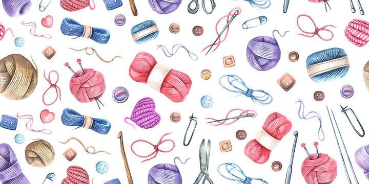 Seamless pattern with watercolor knitting elements: yarn, knitting needles and crochet hooks, hand drawn knitting elements isolated on a white background.