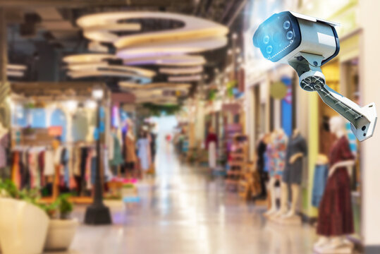 Cctv camera system Walkway in the shopping center for security Take a photo in the room for security CCTV technology Tracking system ai Blurred background