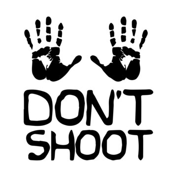 Don't Shoot with Palms. Black and white illustration depicting do not shoot surrender peaceful hands up sign icon. EPS Vector