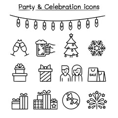 Party celebration icon set in thin line style vector image