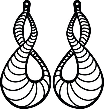 swirl earrings long svg vector cut file for cricut and silhouette printable jewelry design