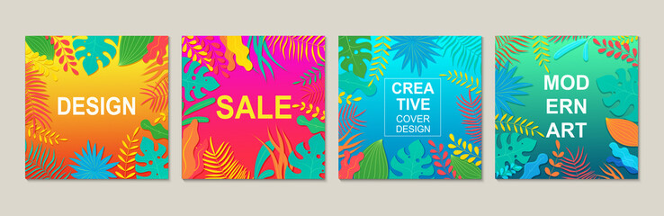 Abstract modern square design templates with floral elements. Design trendy banner backgrounds for advertisements and posters.