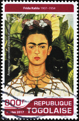 Self-portrait with animals by Frida Kahlo on stamp