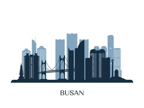 Busan skyline, monochrome silhouette. Vector illustration.