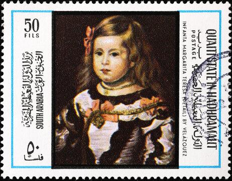 Infanta Margarita Teresa by Velazquez on postage stamp