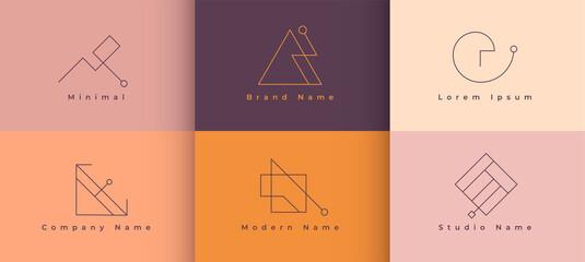 six minimal brand logo style collection design