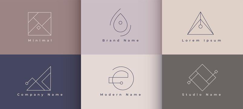 minimal logo designs set of six concept