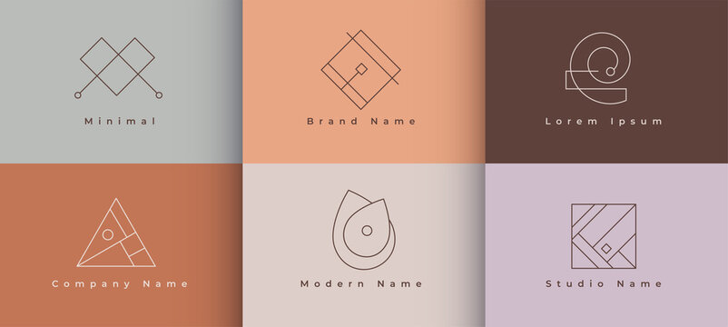 minimal logo collection in geometric style design