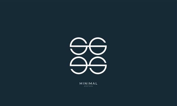 Alphabet letters icon logo SG