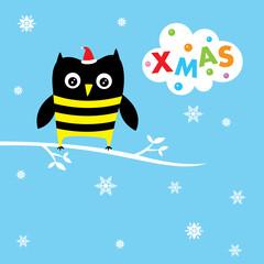 cute owl merry christmas greeting card