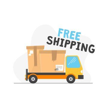 Free shipping icon with truck and inscription vector illustration. Bright pic with text flat style. Delivery service and package transportation concept. Isolated on white background