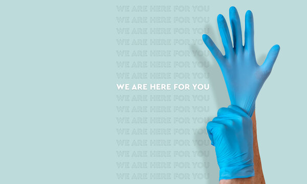 Coronavirus we are here for you image on a blue background