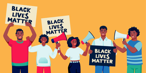 African american protesting people with posters. Black lives matter, fight for rights concept. Vector illustration