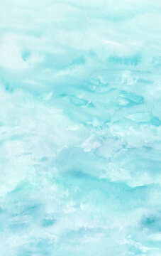 Ocean water texture, abstract hand painted watercolor background