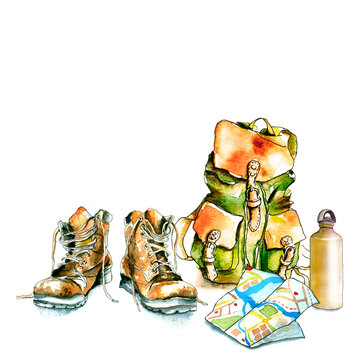 watercolor hiking walking travel set / hiking boots, map, water bottle / Hand-drawn Watercolor and ink illustration isolated on white background