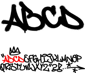 Spray graffiti tagging font. Letters ''A'', ''B'', ''C'', ''D''. Part 1