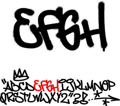 Spray graffiti tagging font. Letters ''E'', ''F'', ''G'', ''H''. Part 2