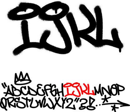 Spray graffiti tagging font. Letters ''I'', ''J'', ''K'', ''L''. Part 3