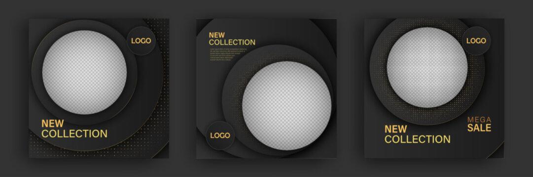 Set of Fashion Templates For Instagram, Facebook Stories. Design Backgrounds For Social Media Banner. Vector Illustration. Premium quality.
