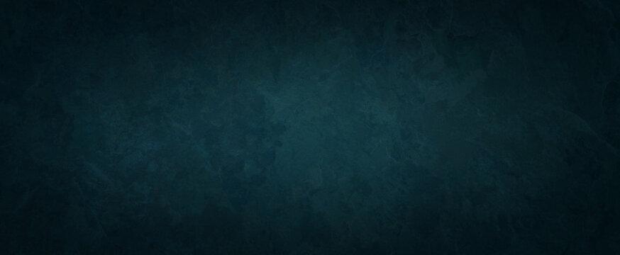 old blue green background texture with black vignette in old vintage textured border design, dark elegant teal color wall with light spotlight center