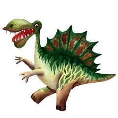 Hand drawn watercolor dinosaur character. Children invitation card. Prehistoric spinosaurus. Jurassic monster. Funny prehistoric reptile character. Greeting invitation children card. Paleontology pic.