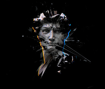 Digital offset CMYK illustration of polygonal mesh head bust sculpture of Michelangelo's David from 3D rendering exploding and shattered into pieces. Isolated on black background.