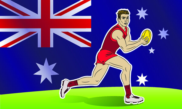 Cartoon comics style vector isolated illustration of australian rules football player. Aussie sport. Running man holding a ball. Activity, game, athlete, sportsman.