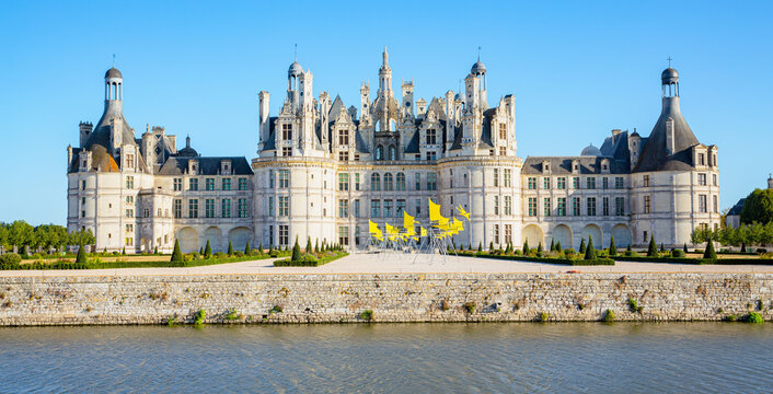 The historic Château de Chambord in Centre-Val de Loire, France, national monument and Unesco World Heritage