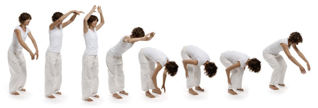 Ba Duan Jin die sechste Übung sechs der acht Brokate Chigong Quigong, Bild 6/8 Hände Füße greifen