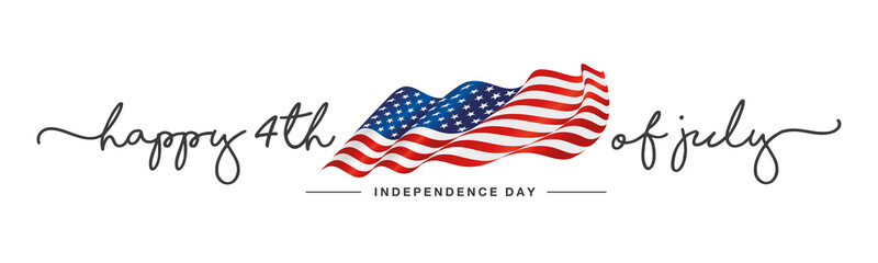 4th of july Happy Independence day handwritten typography text USA wavy flag white background banner