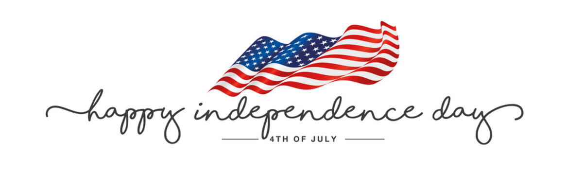 Independence day Happy 4th of july handwritten typography text USA wavy flag white background banner