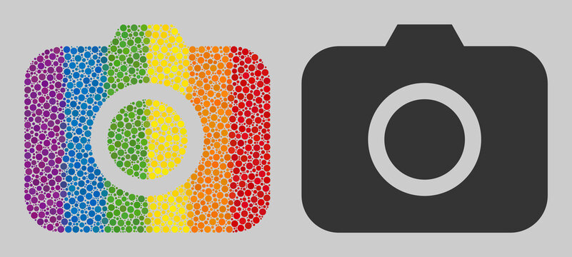 Photocamera collage icon of round dots in variable sizes and rainbow color tinges. A dotted LGBT-colored Photocamera for lesbians, gays, bisexuals, and transgenders.