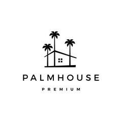 palm house tree home logo vector icon illustration
