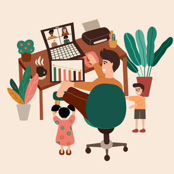 Man work from home with kid. Video conference with friend. quarantine, new normal, physical distancing, online meeting, web chatting.  vector illustration in flat cartoon design.