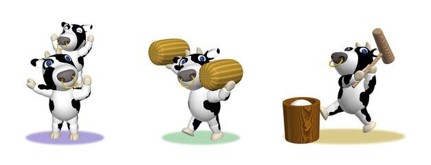 牛キャラクター3Dイラスト、ポーズ