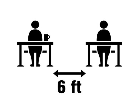 Social Distancing Keep a Safe Distance of 6 ft or 6 Feet between the Tables in Cafe or Restaurant Icon. Vector Image.