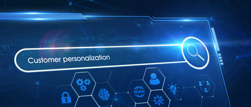 Business, Technology, Internet and network concept. Young businessman shows the word on the virtual display of the future: customer personalization