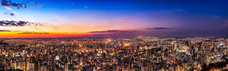 Papiers peints Brésil Panoramic Night Cityscape View During Dusk Sunset From Water Tank Lookout in Belo Horizonte, Minas Gerais State, Brazil